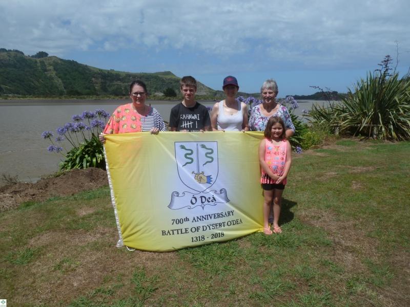 The Flag in NZ - Joanne Sullivan, Josh Corrigan, Christine Corrigan, Noleen Dwyer, Ella Sullivan - December 2017