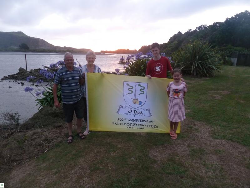 The Flag in NZ - Noleen and Kevin Dwyer and grandchildren Josh Corrigan, Ella Sullivan - December 2017