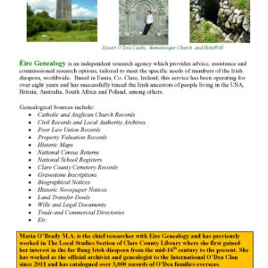 Eire Genealogy Services - Maria O'Brady