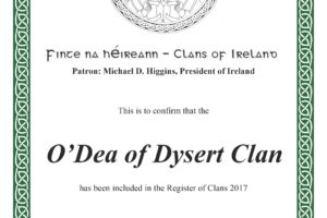 The O'Dea Clan is Registered with the Clans of Ireland