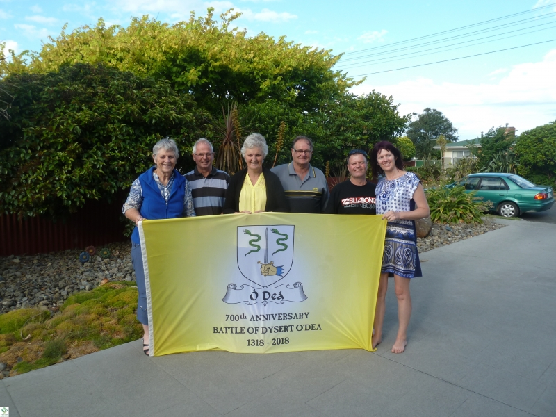The Flag in NZ - Noleen and Kevin Dwyer, Ailsa (nee O'Dea) and Malcolm Parsons, Stephen and Christine Corrigan - December 2017