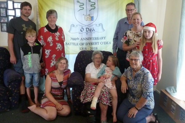 The Flag in NZ - Phil O'Dea, Isaiah O'Dea, Carolyn O'Dea, Charlene O'Dea, Richard O'Dea, Rachel Ward (nee O'Dea), Grace O'Dea, Noleen Dwyer, Irene O'Dea, Honor O'Dea - December 2017