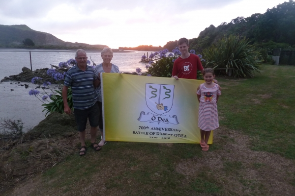 The Flag in NZ - Noleen and Kevin Dwyer and grandchildren Josh Corrigan, Ella Sullivan - December 2017