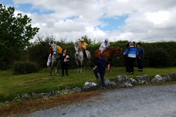 Preparing for the re-enactment of the Battle of Dysert O'Dea - 12 May 2018 (Photo supplied by Teri and Abraham Barton)