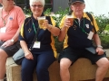 Christine and Gary Row drinking Budweiser beer on tour