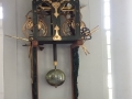 Clock inside church at Boone Village