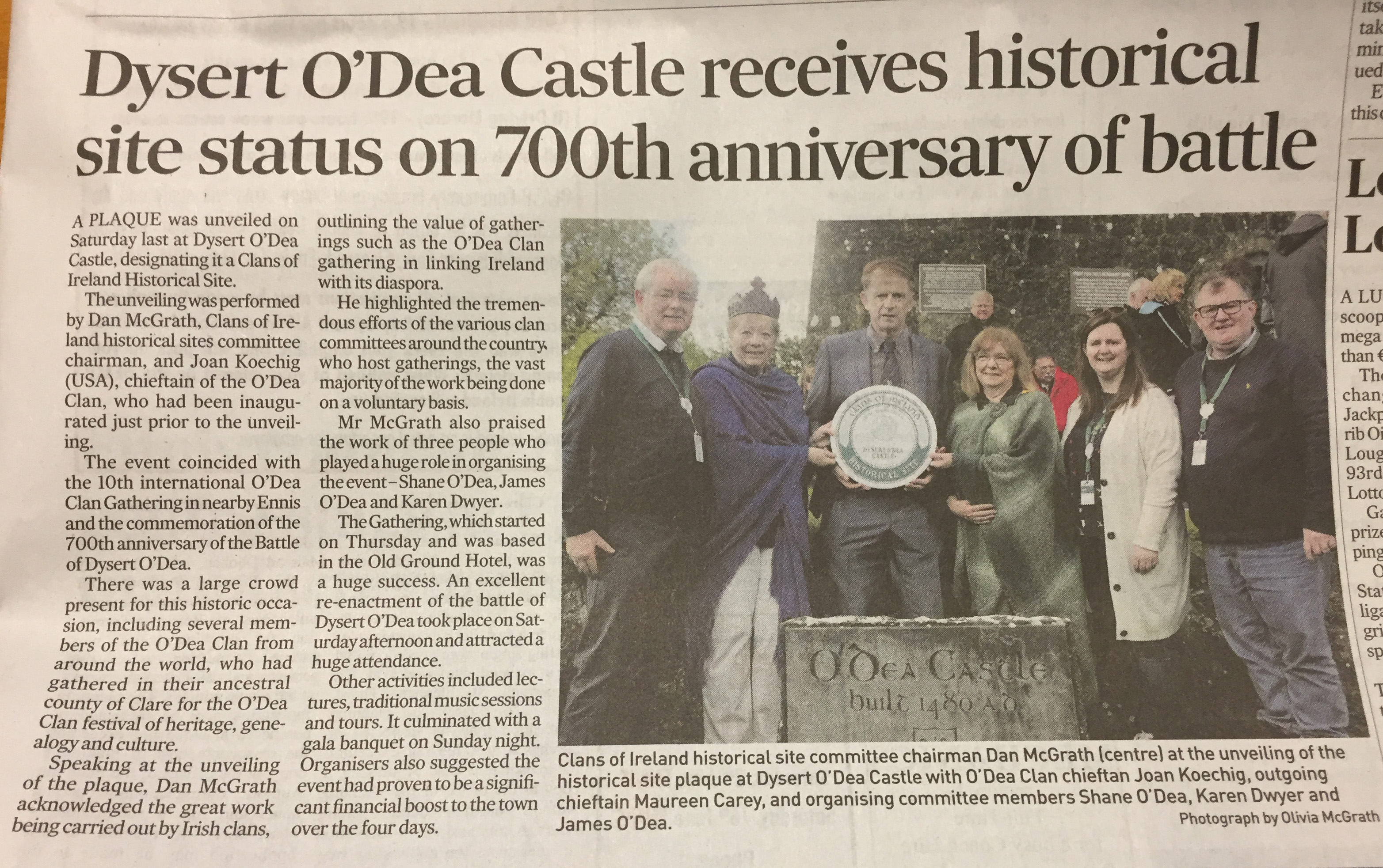 Dysert O'Dea Castle Receives Historical Site Status on 700th Anniversary of Battle