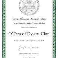 The Dysert O'Dea Clan is a Registered Member of the Clans of Ireland