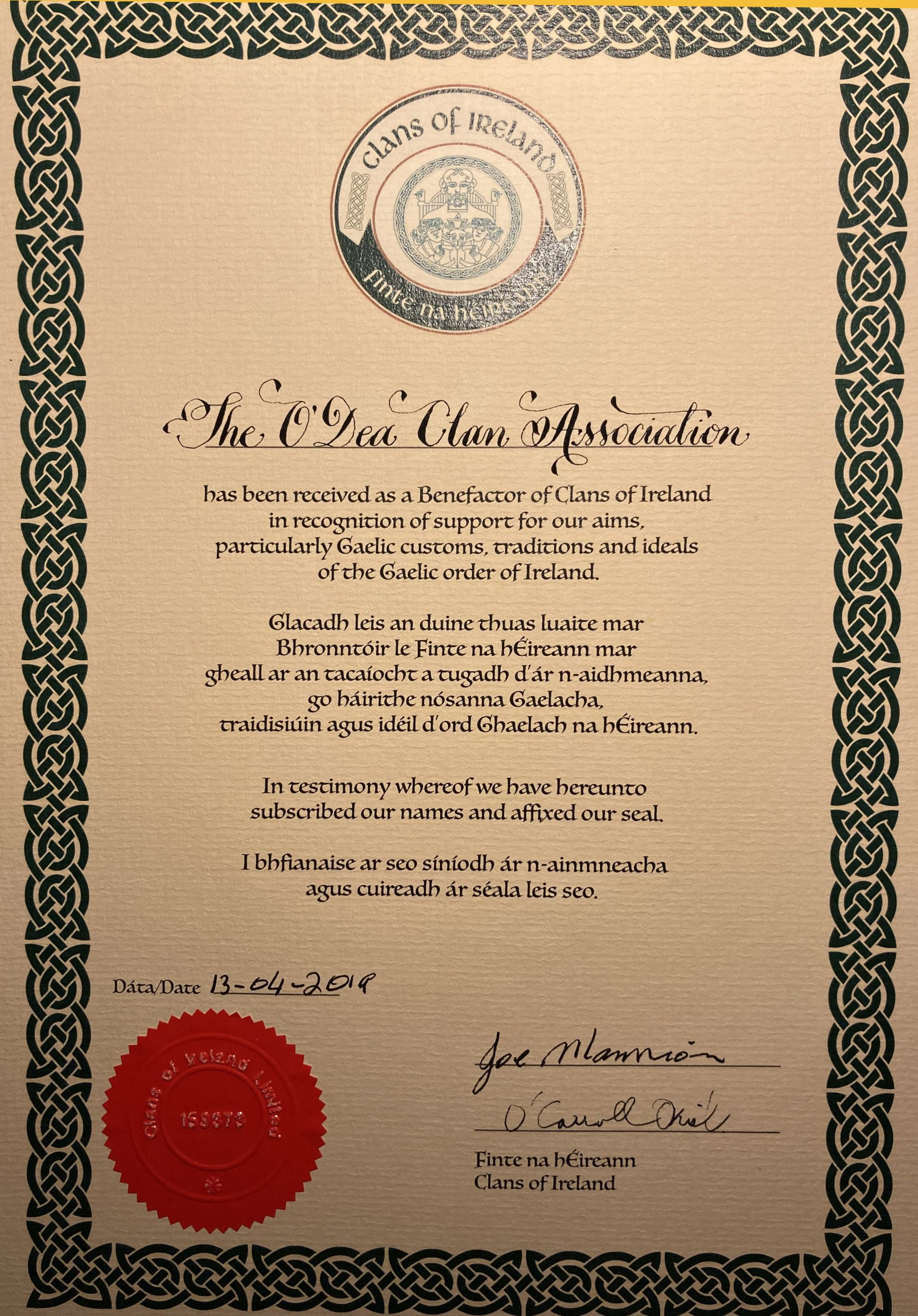 The O'Dea Clan is a Benefactor of the Clans of Ireland